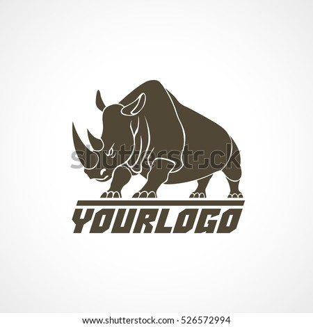 Rhino logo sign emblem pictogram vector illustration on white background