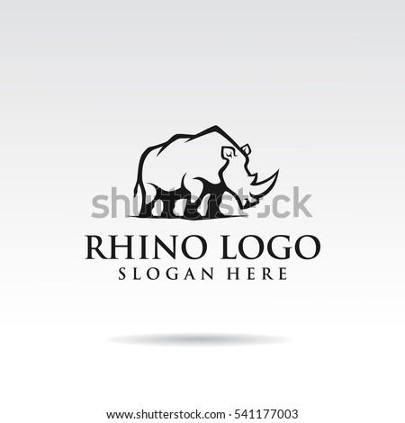 Rhino logo template design. flat style for brand t shirt. Vector illustrator eps.10