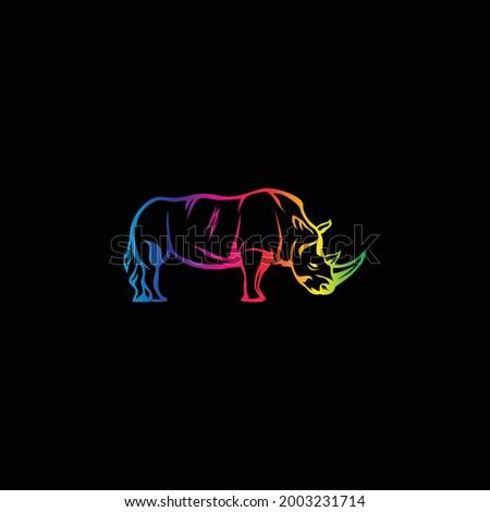 Rhino logo with rainbow color Сток-фото ©