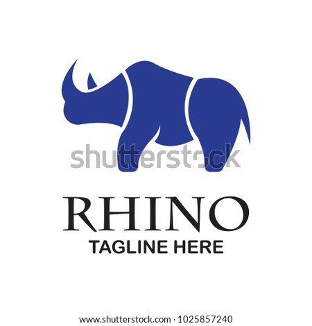 Stock Photo rhino logo with text space for your slogan / tagline, vector illustration