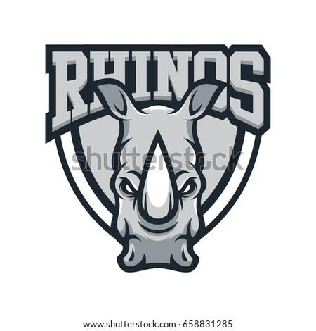 rhino rhinoceros animal mascot head vector illustration logo