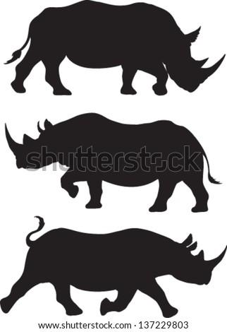 rhino silhouette vector set of
