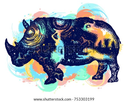 Rhinoceros color tattoo art. Symbol Africa, savannah, travel. African woman, jaguar, elephant. Rhino double exposure t-shirt design water color splashes