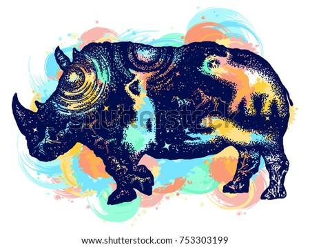 Rhinoceros color tattoo art. Symbol Africa, savannah, travel. Rhino double exposure t-shirt design water color splashes