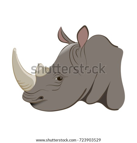 Rhinoceros in the cartoon style. For used for web, wallpaper, printing on the paper.