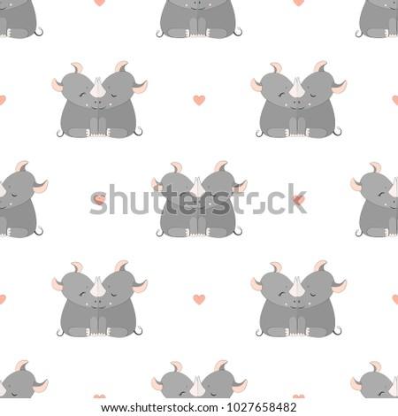 Rhinoceros Seamless Vector Pattern.Vector background