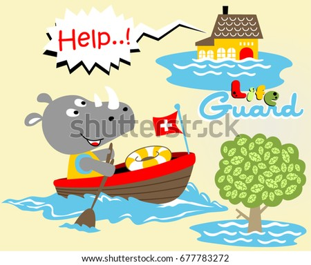 rhinoceros the lifeguard, vector cartoon illustration #677783272