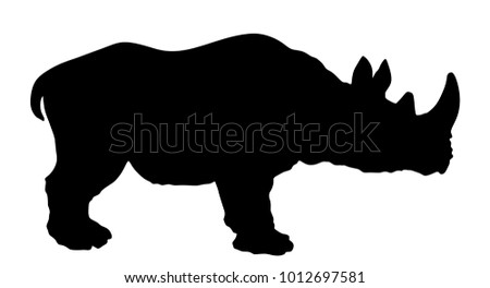 Rhinoceros vector silhouette illustration isolated on white background.