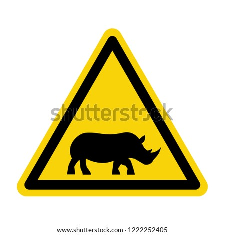 Rhinoceros warning sign. Symbol, vector, illustration