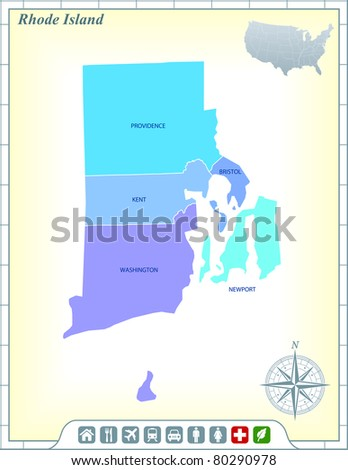 Rhode Island State Map with Community Assistance and Activates Icons Original Illustration