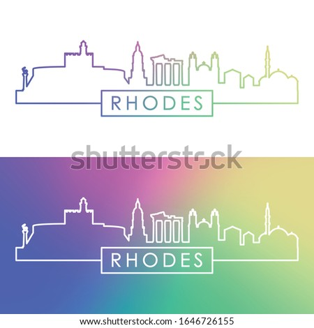 Rhodes skyline. Colorful linear style. Editable vector file.