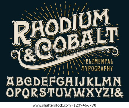 Rhodium & Cobalt is an vintage elemental typography alphabet with ornate old-world serifs on a gold sunburst background. This font has a regal or classy vibe and works well for labels and branding.
