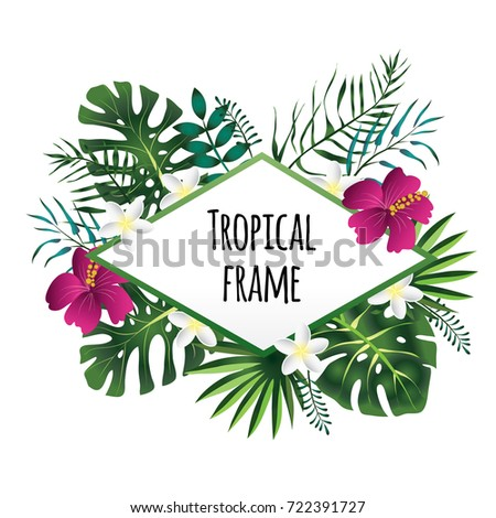 Rhombus tropical frame, template with place for text. Vector illustration, isolated on white background.