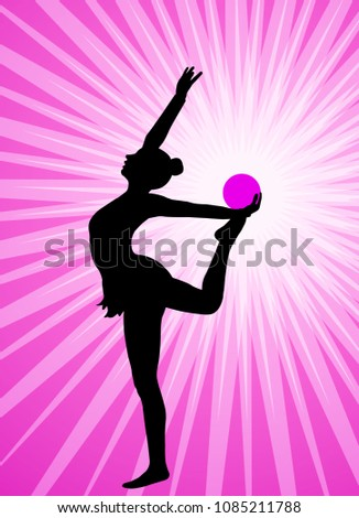 rhythmic gymnast silhouette on the abstract background - vector