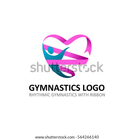 Rhythmic Gymnastic Ribbon Logo. Gymnastic with Heart