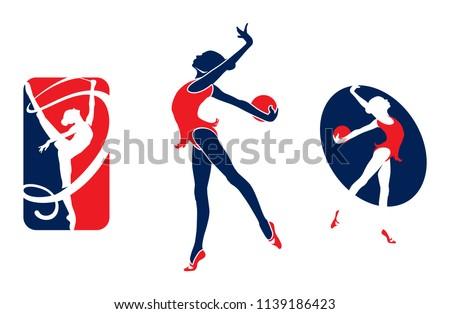 Rhythmic gymnastic sportsmen, sports icons, sports logos.illustration.