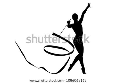 rhythmic gymnastics exercise ribbon in gymnast woman black silhouette