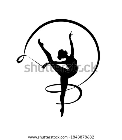 Rhythmic gymnastics girl with ribbon. Vector dancer silhouette black on white Stockfoto ©