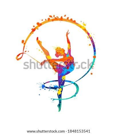Rhythmic gymnastics girl with ribbon. Vector dancer silhouette of splash paint Stockfoto ©