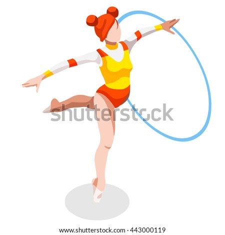 Rhythmic Gymnastics Hoop Athletes Summer Games Icon Set. 3D Isometric Athlete. Championship People Set Competition. Sport Infographic events or circus acrobat performer juggler Image