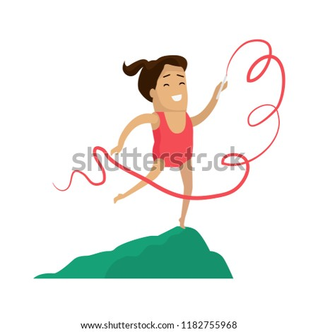 Rhythmic gymnastics little girl with ribbon vector. Female smiling having active leisure and pastime, athletic gymnastic woman with lace on stick
