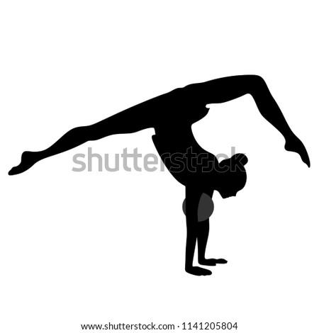 Rhythmic Gymnastics, silhouette on white background