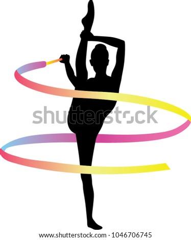 Rhythmic gymnastics. Sportswoman with ribbon. Design vector illustration.