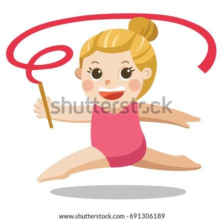 Rhythmic gymnastics. Sportswoman with ribbon. Isolated vector