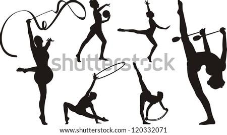 rhythmic gymnastics with apparatus - silhouette