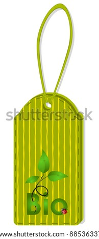 Ribbed stitched a label embossed on it in green sprout and ladybug - stock vector