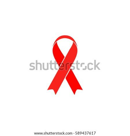 Ribbon aids symbol. Color symbol icon on white background. Vector illustration