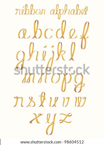 Ribbon alphabet - stock vector