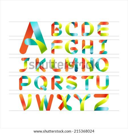 Ribbon alphabet colorful font, Capital letter A, B, C, D, E, F, G, H, I, J, K, L, M, N, O, P, Q, R, S, T, U, V, W, X, Y, Z. Vector illustration. Stock fotó ©