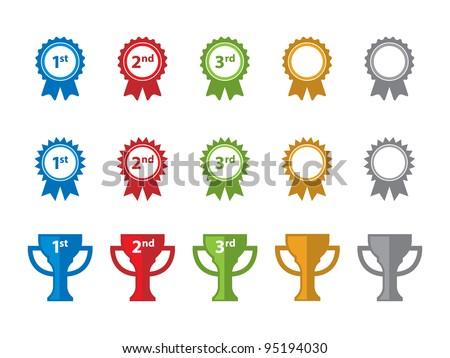 Ribbon and Trophy Icons. ストックフォト ©