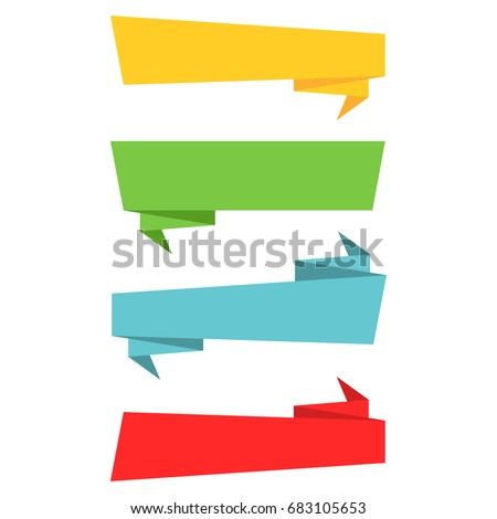 Ribbon banner, Set colorful ribbons in flat style