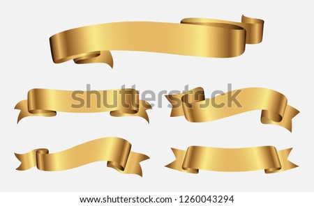 Ribbon banner set.Gold ribbons.