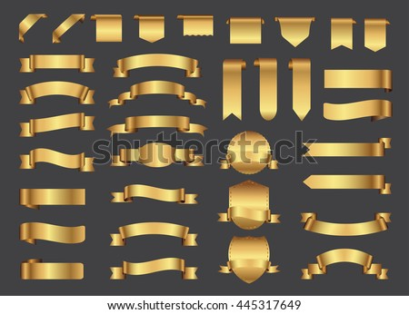 Ribbon banner set. Golden ribbons.Vector illustration.