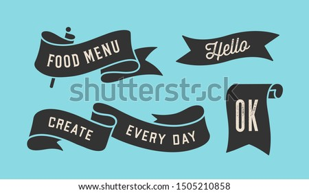 Ribbon Banner. Set of black ribbon banner with text, phrase. Black isolated vintage old school silhouette ribbon with text Ok, Hello. Graphic elements for design message. Vector Illustration