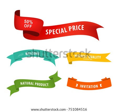 Ribbon banner set promotional with colorful.
