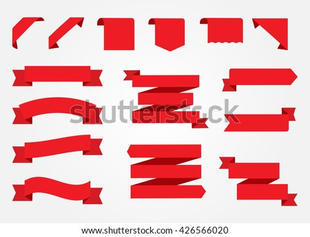 Ribbon banner set.Red ribbons.Vector illustration.