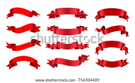 Ribbon banner set. Red ribbons.Vector illustration. #756304489