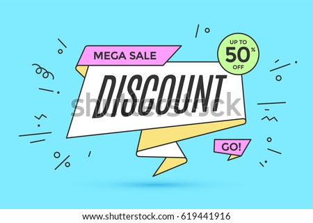 Ribbon banner with text Discount for sale and promotion. Colorful realistic sticker, banner for sale, shopping, market, business theme. Design elements for flyer, poster. Vector Illustration