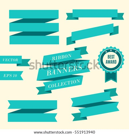 Ribbon banners. Collection of different blue banners. Vintage styled ribbons and badge template.