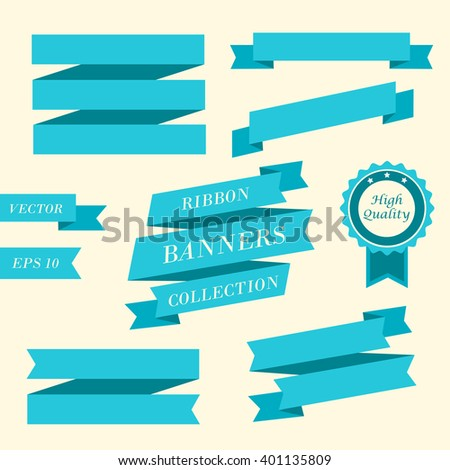 Ribbon banners. Collection of different blue ribbon banners. Vintage styled ribbons and badge template. Ribbon element. Vector illustration, eps 10