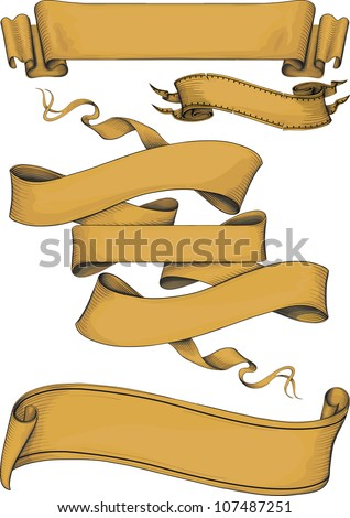 ribbon banners engraving style. Color. Isolated on white