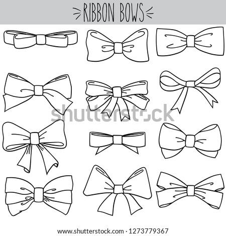 Ribbon Bow Black Outline
