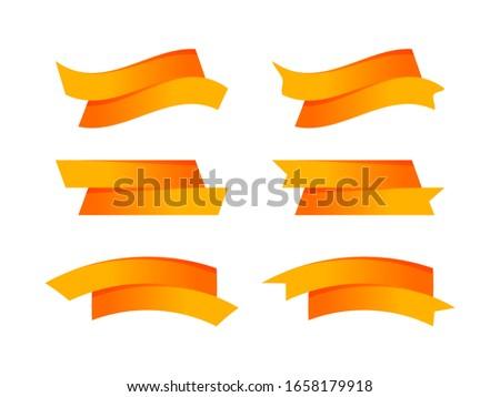 ribbon bow orange stripe shape isolated on white, ribbon tag set for element graphic design, ribbon line orange for label copy space text, border tape curl ribbon orange shaped, label tape orange