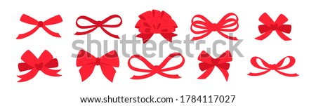 Ribbon bow red set. Valentine day or wedding decorated tape bows. Cartoon elements for present, celebration and congratulation. Isolated on white background vector illustration