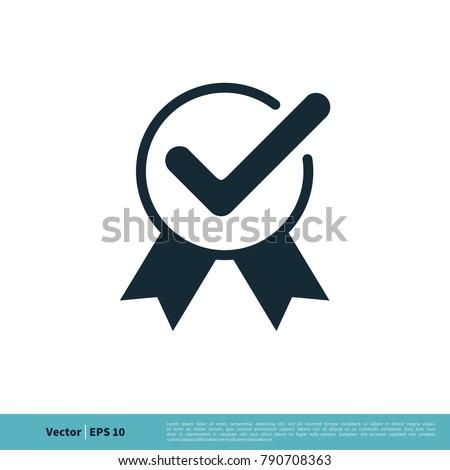 Ribbon, Check Mark Icon Vector Logo Template