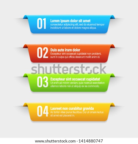 Ribbon color banners. A vivid illustration of the layout of the labels banner. Colored labels with a set. A template for the web design. All elements are isolated.EPS 10.